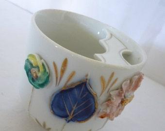 Vintage Porcelain Mustache Cup, 3D Floral