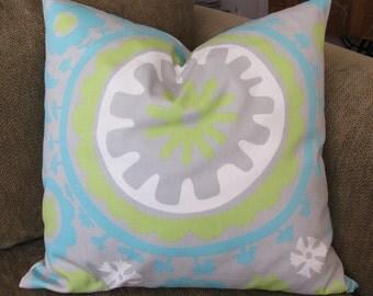 """Suzani Print Pillow Cover, 18"""", Aqua, Green, Gray and White, Cotton Twill, Zipper Closure"""