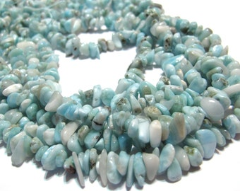 Dominican Larimar chip nuggets 15 inch strand awesome deal