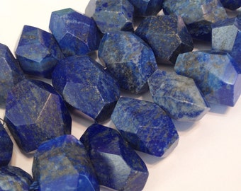 """Lapis faceted side drilled nuggets 4"""" strand AAA premium quality"""