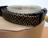 Breakaway Cat Collar Ribbon Braided in Black and Gold