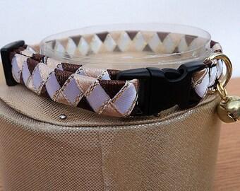 Cat Collar Breakaway Brown and White Diamond Pattern