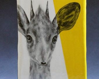 Hand Painted Dik-Dik Antelope Portrait Wall Tile Bright Yellow