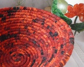 Coiled Fabric Basket - Vesuvius - Catchall, Organizer, Firey Orange, Handmade by Me