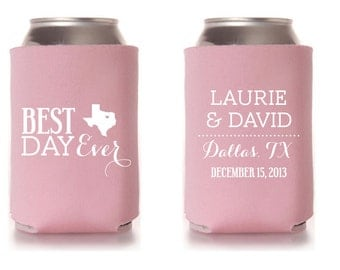 Custom Wedding Collapsible Can Coolers - Best Day Ever