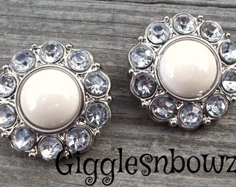 NEW Set of Two SHiNY IVoRY Pearl and Clear Rhinestone Buttons 25mm