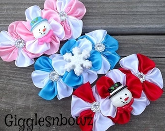 Set of THReE Embellished SaTiN CLuSTeR Flowers- SNoWMaN ASSoRTMeNT- 4 inch Size