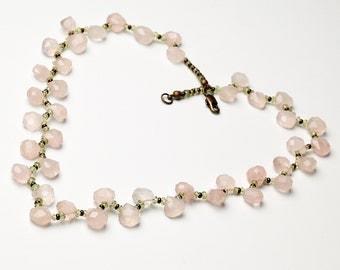 Pink Rose Quartz Green Peridot and Brown Czech Glass Choker Necklace