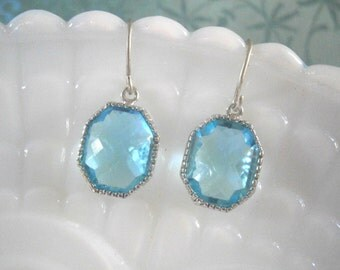 Aquamarine Blue Earrings, Silver Earrings, Best Friend Birthday, Bridesmaid Earrings, Wedding Jewelry