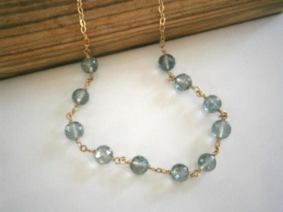Green Mystic Quartz Necklace, Gold Necklace, Gemstone Necklace
