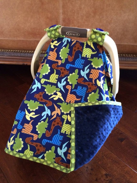 items similar to baby car seat covers dino dudes in blue with navy minky great baby shower. Black Bedroom Furniture Sets. Home Design Ideas