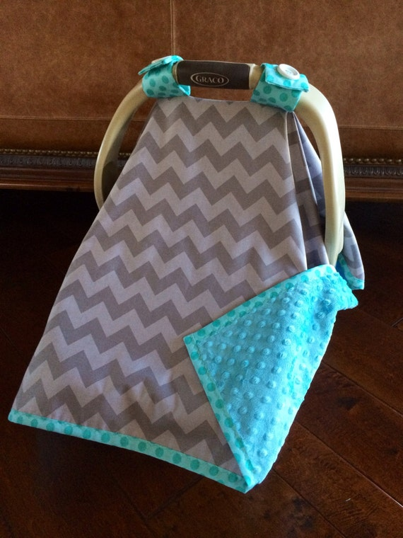 items similar to super cute baby car seat covers chevron in gray gray tone with teal minky. Black Bedroom Furniture Sets. Home Design Ideas