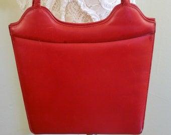 Vintage Red Leather Handbag, Lennox, purse
