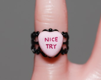 Creepy Cute Miniature Heart Gothic message Ring -  Jewelry - Nice Try