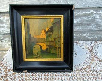 Antique Glass transferred Picture Lithograph Framed Venice Italy UNIQUE RARE