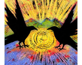 "Gallery Wrapped Canvas Print, 8"" x 8"" Two Ravens Sit and Reflect on the Sun Black Bird Art"