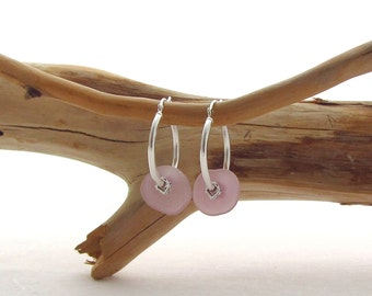 Silver Hoops w/Glass Beads - Light Purple