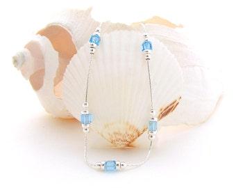 Sterling Silver Chain w/Aqua Swarovski Beads