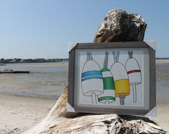 "Framed Buoys Original Drawing: 16"" x 20"""