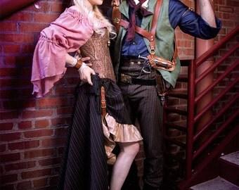 Pink Cotton Blouse, Chemise, Steampunk, Renaissance, Pirate, Peasent Blouse
