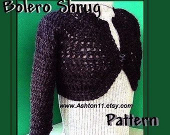 INSTANT DOWNLOAD Crochet Pattern PDF 32-Cropped Shrug Bolero-make 5 Sizes, xs to xl-and Sleeveless to long sleeved.