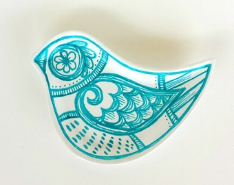 Ceramic Bird Dish Turquoise Blue and White Painted Plate Modern Polish Folk Art Spring Home Decor Ring Dish