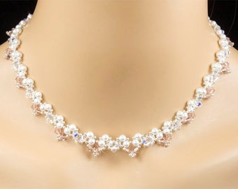 Bridal Necklace, White Swarovski Pearl, Crystal AB and Vintage Pink Bridal Necklace, Garden Bridal Wedding Jewelry - Latitia WN0174