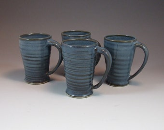 Wheel Thrown Mug in Croc Blue Denim Glaze- 8 ounce