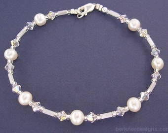 Swarovski Crystal and Pearl Bracelet with Sterling Silver Clasp - Small to Plus Size Bracelet - 7, 7.5, 8, 8.5, 9, 9.5, or 10 inches