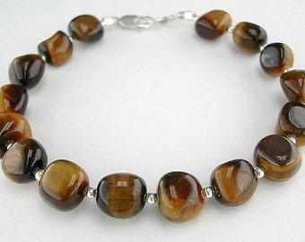 Tiger Eye Bracelet w/ Natural Tigereye Nuggets, Tigers Eye Jewelry, Tiger's Eye Bracelet, Tigerseye Gemstone, 7 Inch - 9 Inch Bracelet & up