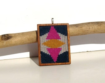 Needlepoint Fuschia Fall Geometric Mahogany Wood Base Necklace Pendant