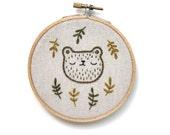 Sleepy bear hand embroidered wall hanging, cross stitch bear, bear embroidery, bear hoop art, bear wall hanging, bear art