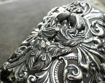 Wide Silver Bracelet Statement Cuff Peacock Jewelry