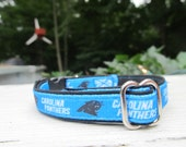 Carolina Panthers Cat or Small Dog Collar with Option of Black or Pink Backing