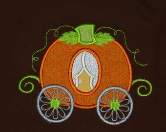 """Embroidered Iron On  """"Princess Pumpkin Carriage"""""""