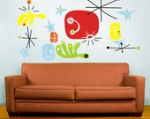 vinyl wall decal mural art- make your own miro, joan miro, mid century, surrealism