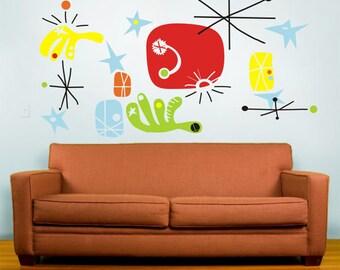 MIRO wall decal mural art- make your own miro, joan miro, mid century art, surrealism, FREE SHIPPING