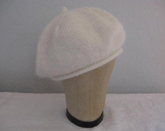 Angora and Wool Beret in Winter White. Hand Knit Hat. Accessories.