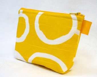 CLEARANCE SALE Bridesmaid Gift Corn Yellow White Free Hand Fabric Gadget Pouch Cosmetic Bag Zipper Pouch Makeup Bag Cotton Zip Pouch MTO