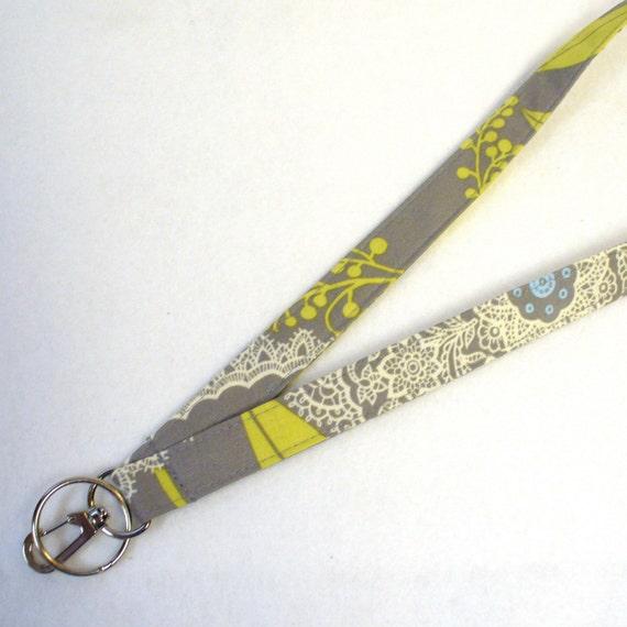 Amy Butler Fabric LANYARD Badge Holder Breakaway Lanyard Designer Fabric ID Clip Key Ring Fob Lacework Gray Handmade MTO
