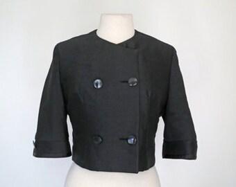 NOIR // silk double breasted 1950s style swing jacket S / M / L