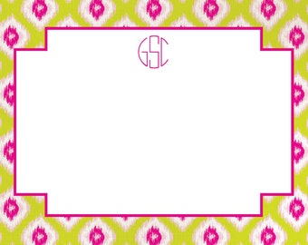 Neon Pink and Lime Ikat Stationery, Notecards, Invitation Set