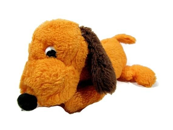 Vintage Dakin Orange Drooper Dog Plush Stuffed Animal 1970s