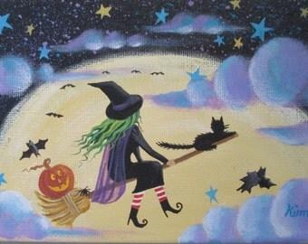 Round the Moon Folk Art Print