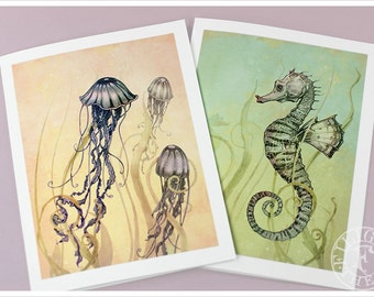 Ocean Cards - Sea Art - Wall Decor - Art Cards - Jelly Fish Seahorse - Yellow Green Purple -