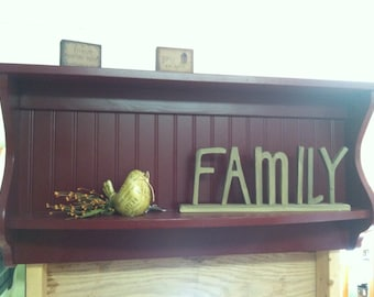 Hanging Plate Rack and Primitive Country Shelf Kitchen Wall Display Unit Wood