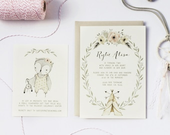 Bohemian Birthday Invitation_Dream Catcher, Baby Owl, Teepee