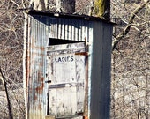 Old Outhouse Photo, Rustic Bathroom Art, Country Bathroom Wall Art, Primitive Decor, Gray Brown Farmhouse, Ladie Room, Hatfield