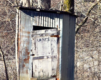 Old Outhouse Photo, Rustic Bathroom Art, Primitive Country Ladies Room