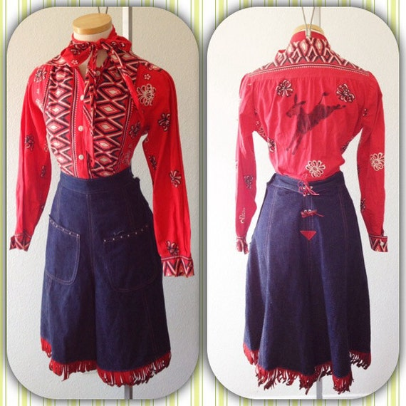 YEE HAW Amazing 1950s Denim cowgirl western 4 piece Fringe set in excellent condition M/L
